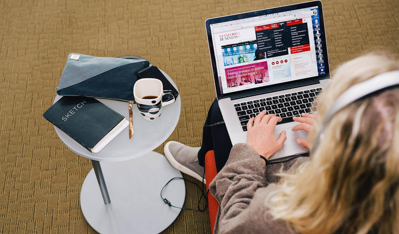 Student working on their laptop. Credit: Anastasiia Sapon