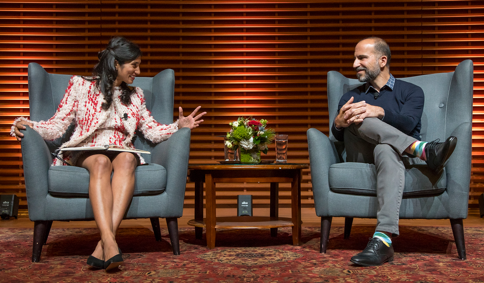 Student speaking with Dara Khosrowshahi, CEO, Uber
