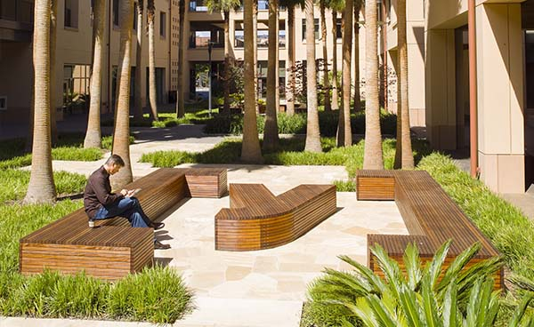 Male participant on bench at Stanford University