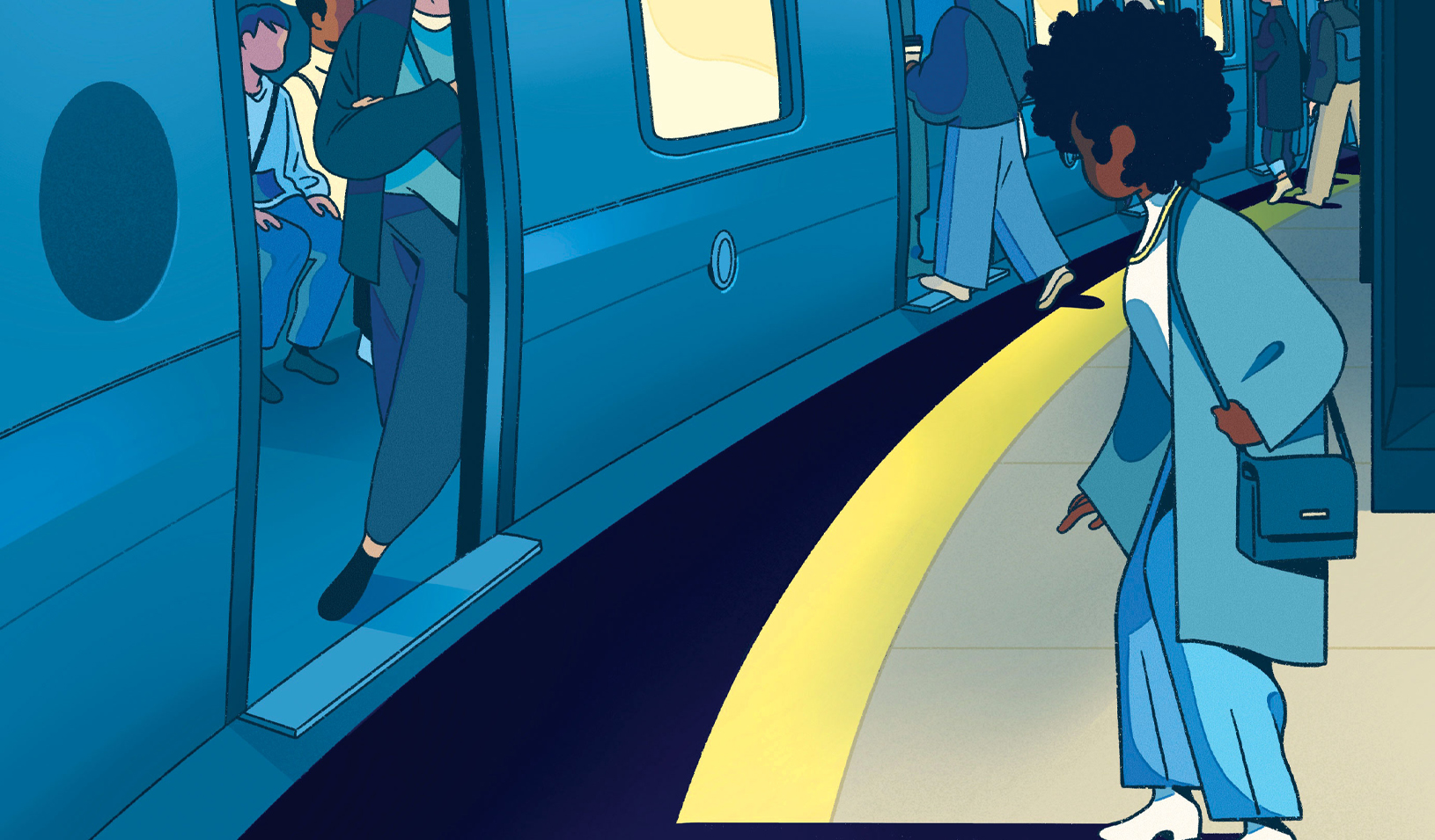 An illustration of a woman standing at large gap at a train platform, while the men waiting at the platform face smaller gaps. Credit: Olivia Fields