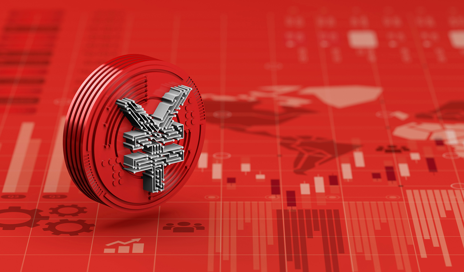 3D rendering of the new Yuan digital currency of china on red economy graph chart. Credit: iStock/nespix