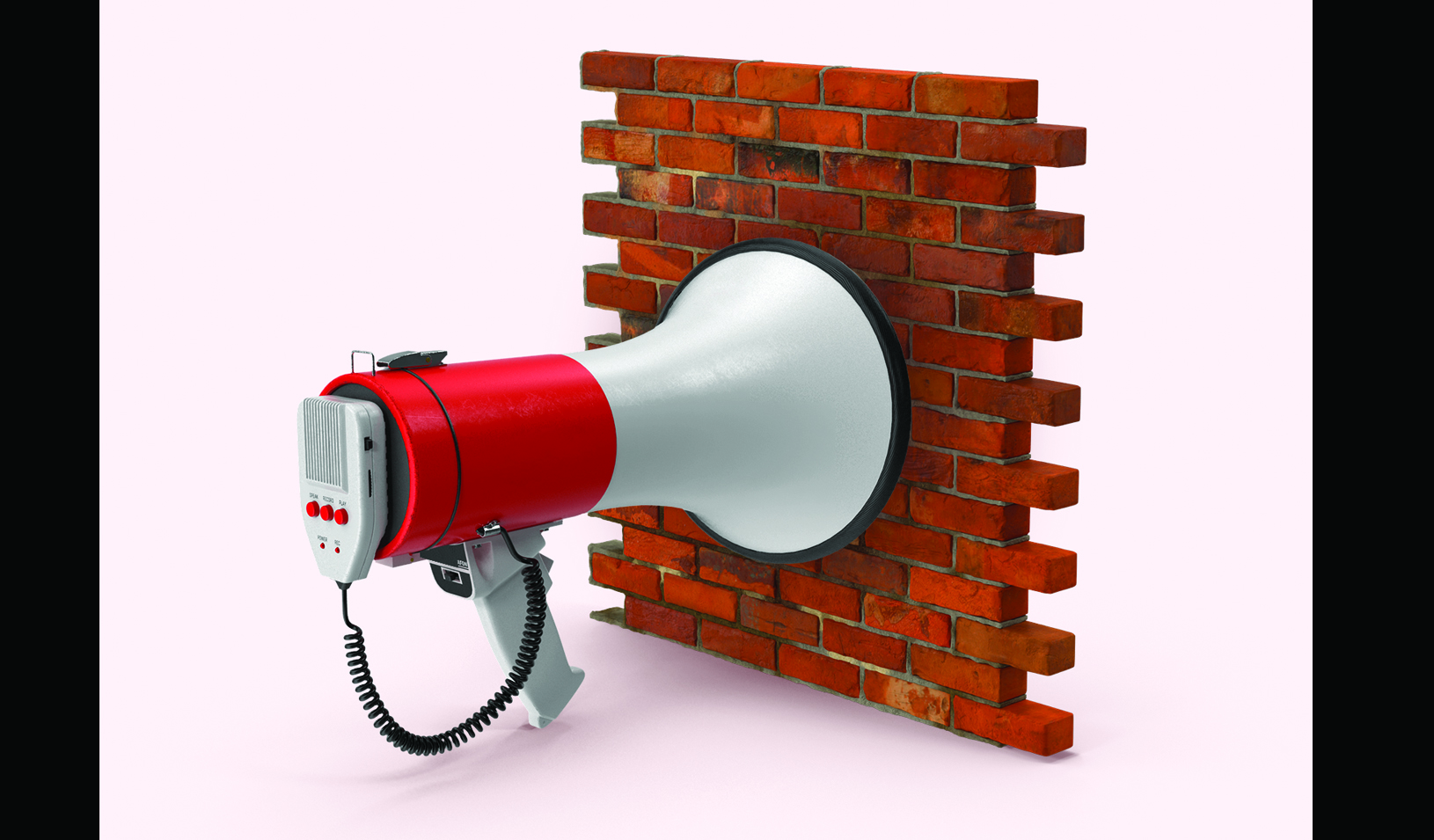 A megaphone pointed at a brick wall. Credit: Alvaro Dominguez