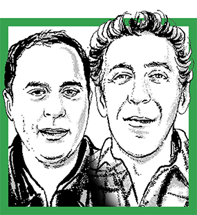 illustrated portrait of Brian Anderluh and Lee Zimmerman. Credit: Agata Nowicka