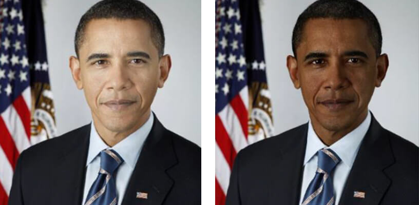 A manipulated image of Barack Obama, showing his skin lightened and darkened.