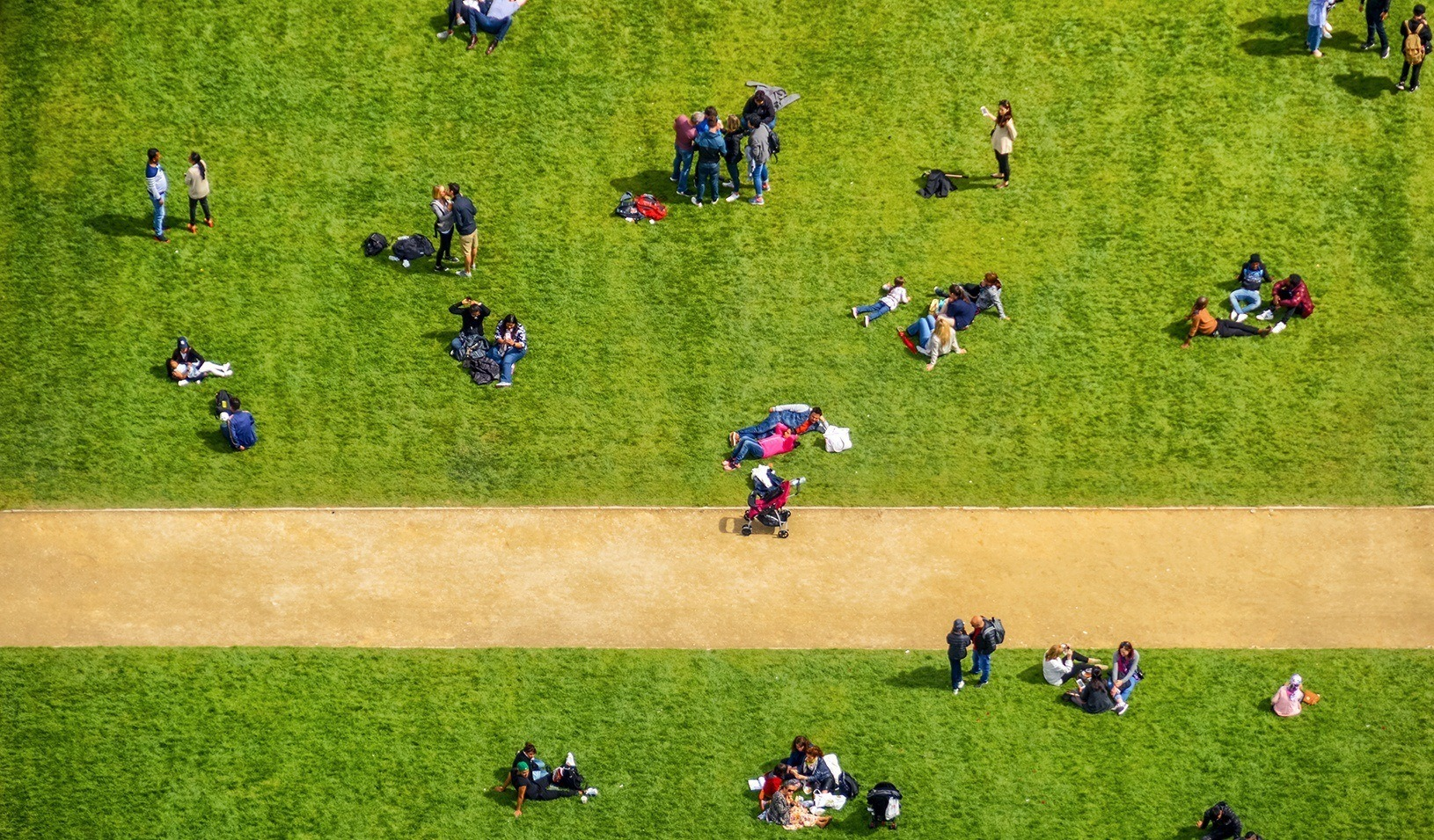 Aerial view of people in park. Credit: iStock/Starcevic