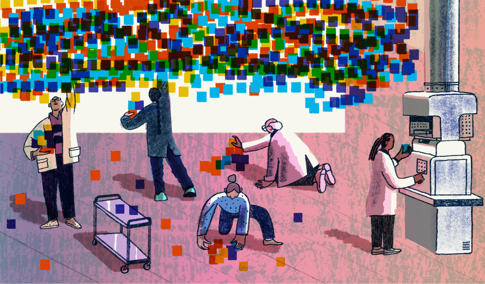 An illustration of figures and representations of data collection. Credit: Josh Cochran