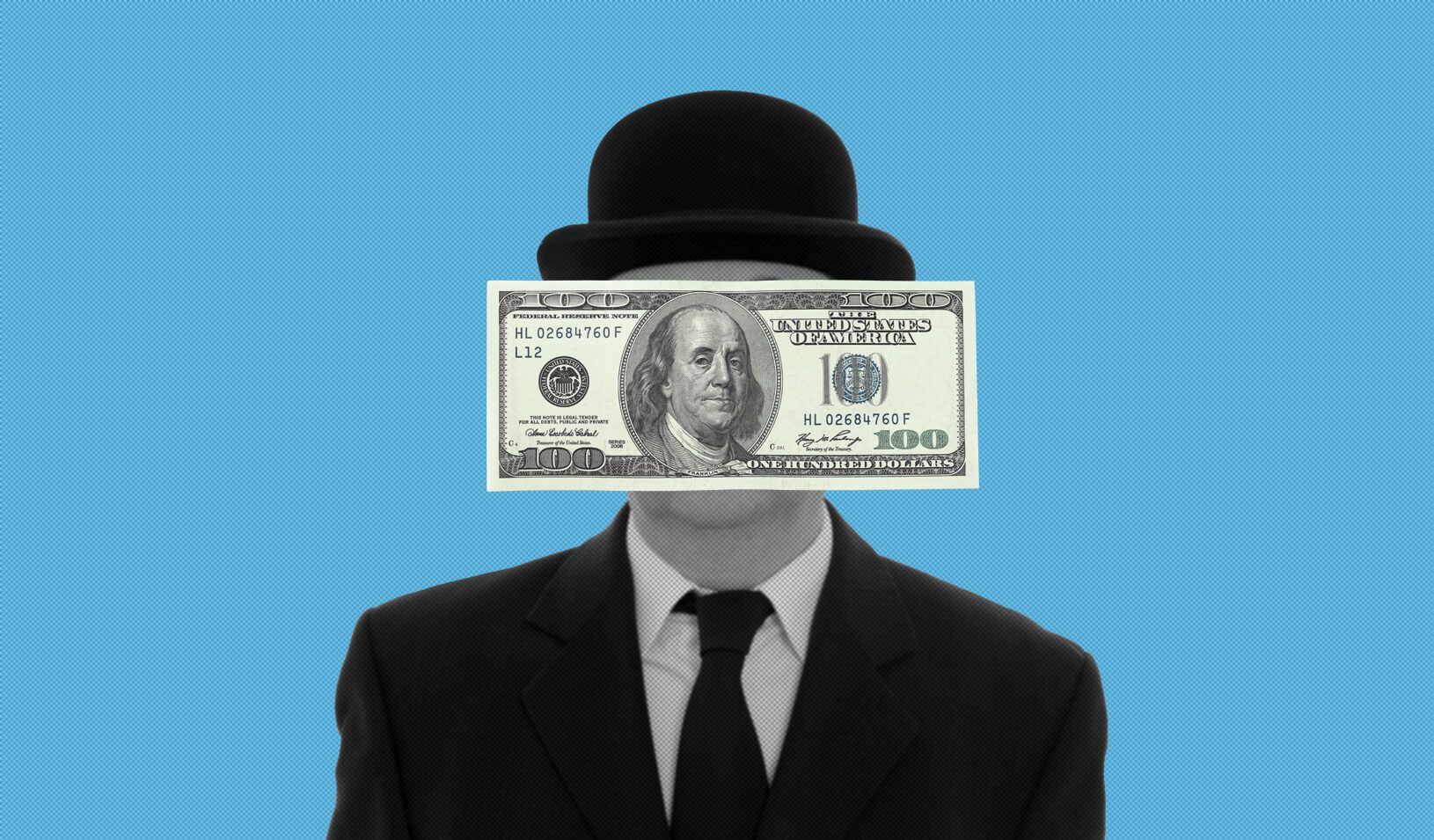 Man in a bowler hat with his face obscured by a one hundred dollar bill. Credit: Cory Hall