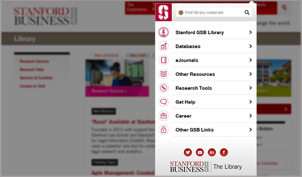 The image shows the menu links of the Library Chrome/Firefox Extension.