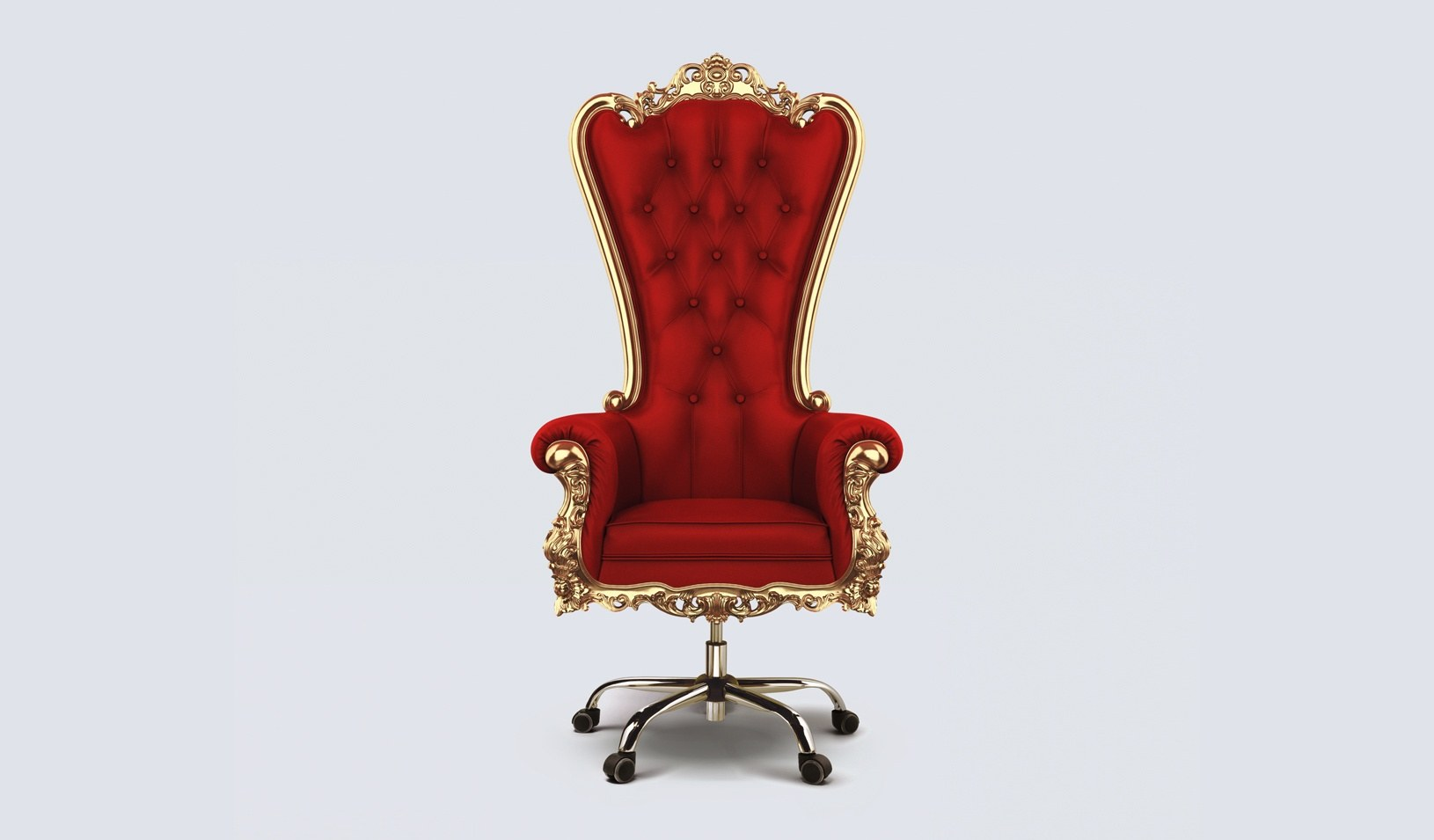 A photo illustration of an office chair that looks like a throne. Credit: Alvaro Dominguez