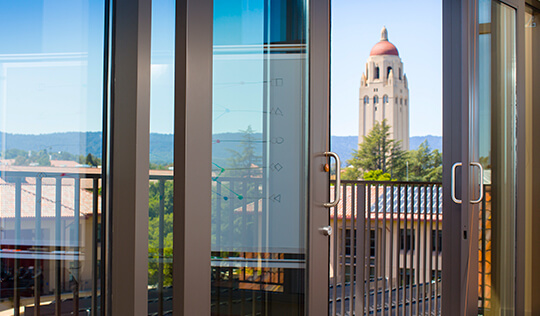 Hoover Tower as seen from the Seawell Family boardroom at the Knight Management Center