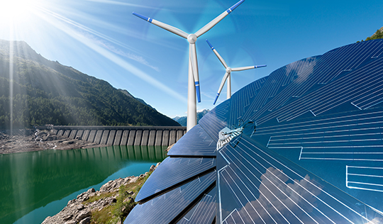 wind towers and solar panels