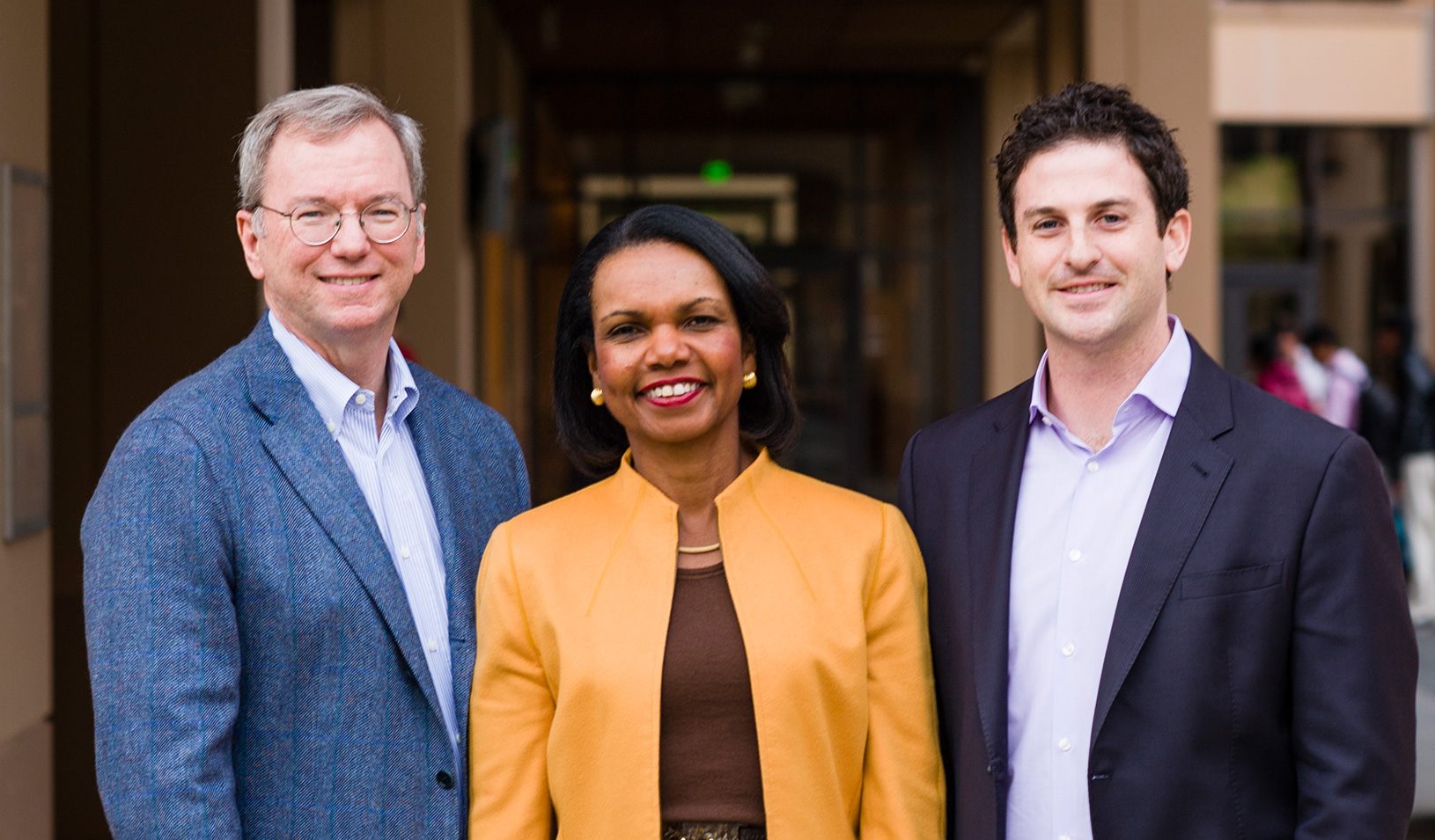 Eric Schmidt, Condoleezza Rice, and Jared Cohen at Stanford GSB
