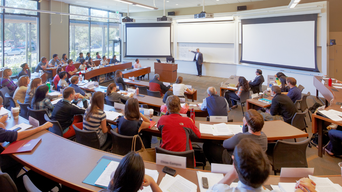 Class in a large classroom