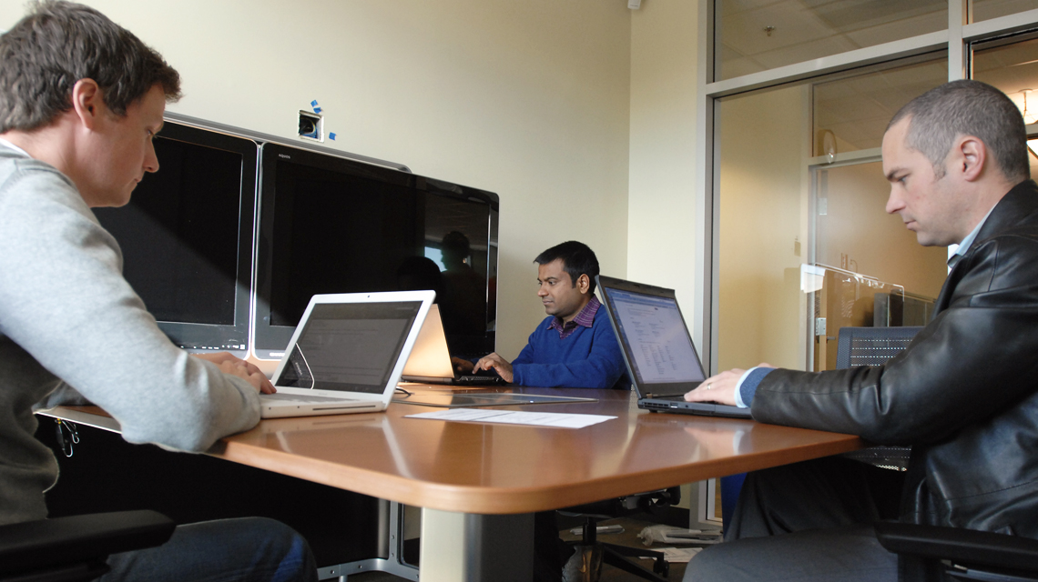 Students in the work study room