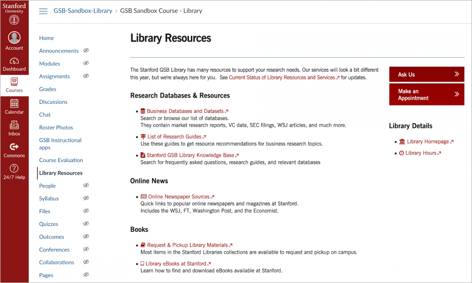 Library Resources in Canvas