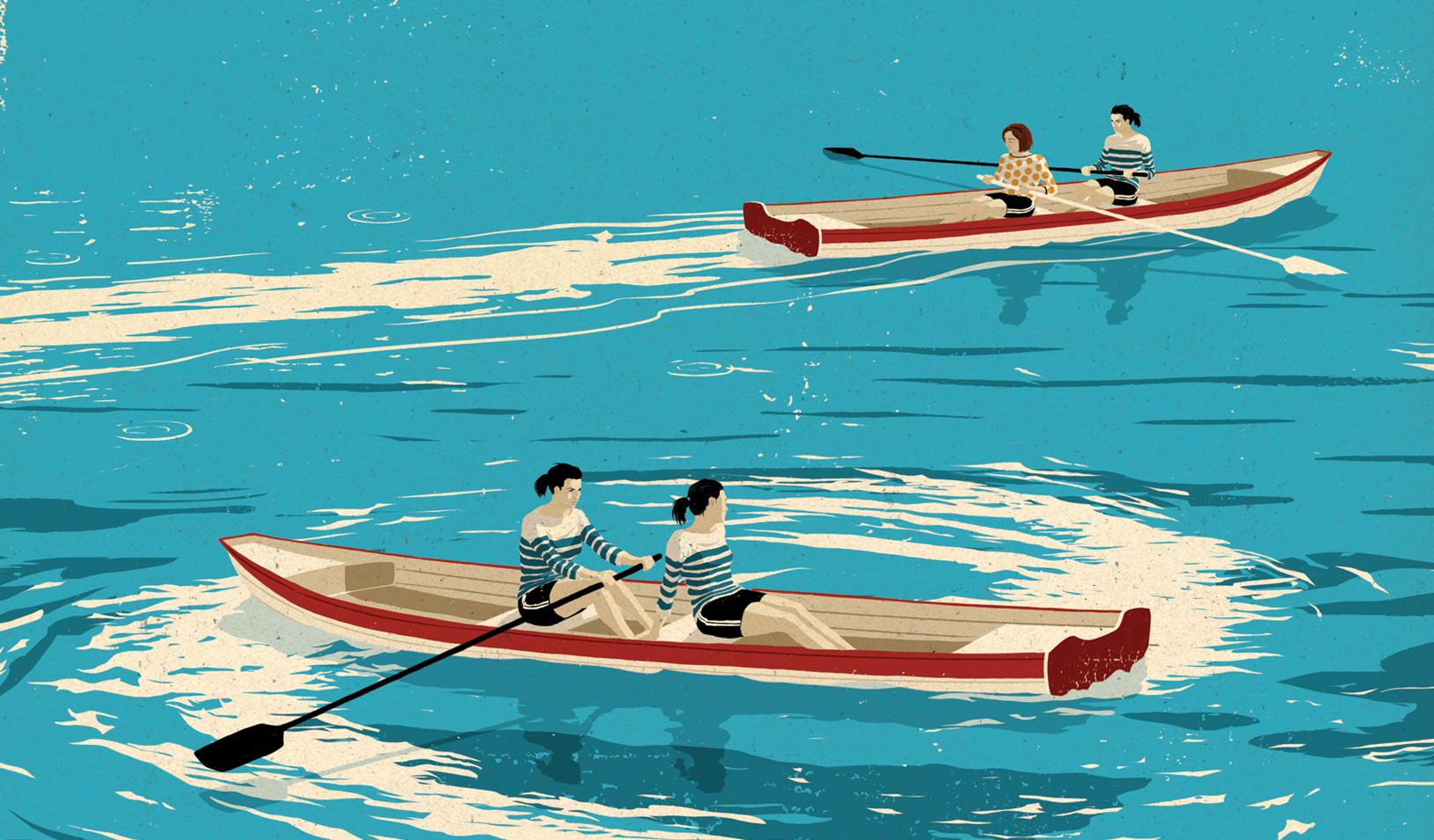 Four individuals in two rowboats, one moving forward and one going in circles
