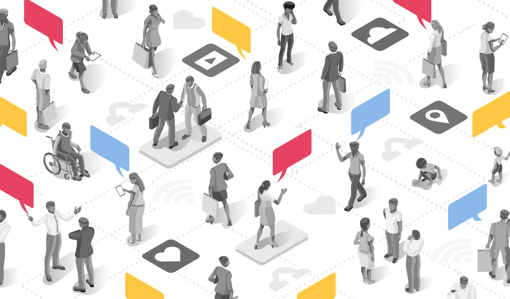 A diverse group of people connected through social networks and digital media. Credit: iStock/aurielaki