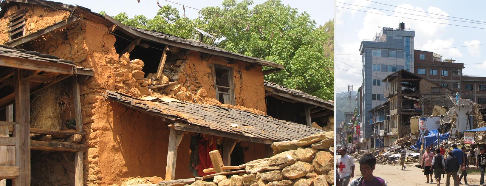 building destroyed by an earthquake