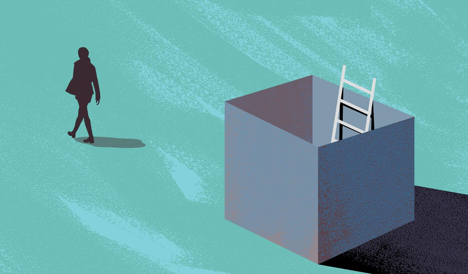 Illustration of a person walking away from a box of which they climbed out