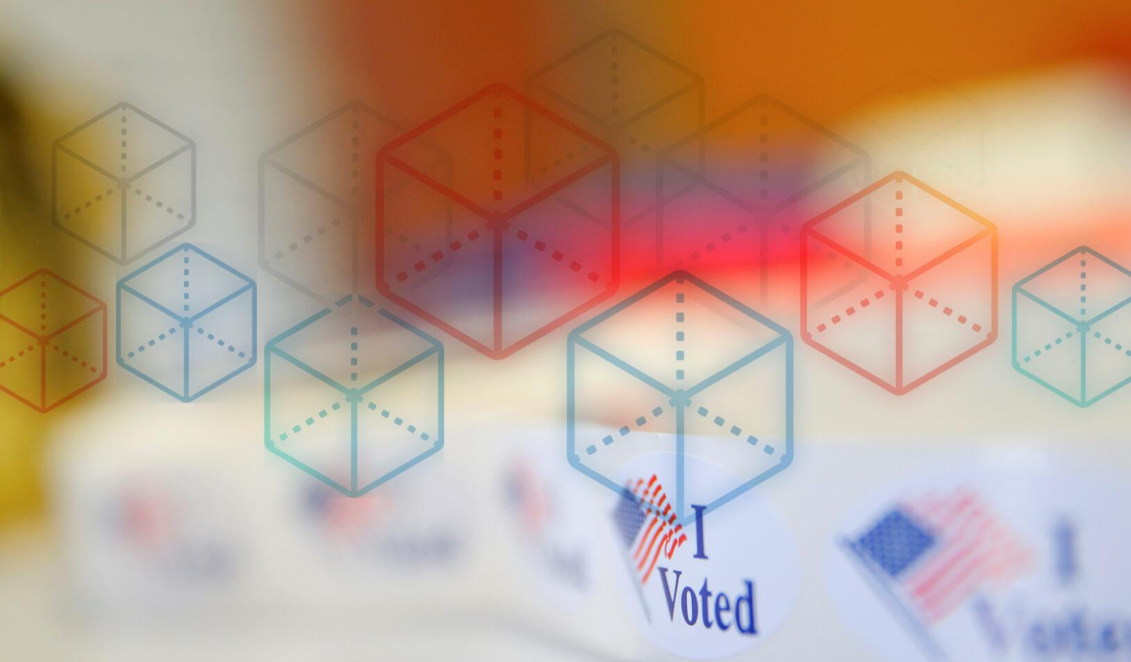 "A photoillustration of block chain shapes over ""I Voted"" stickers.  