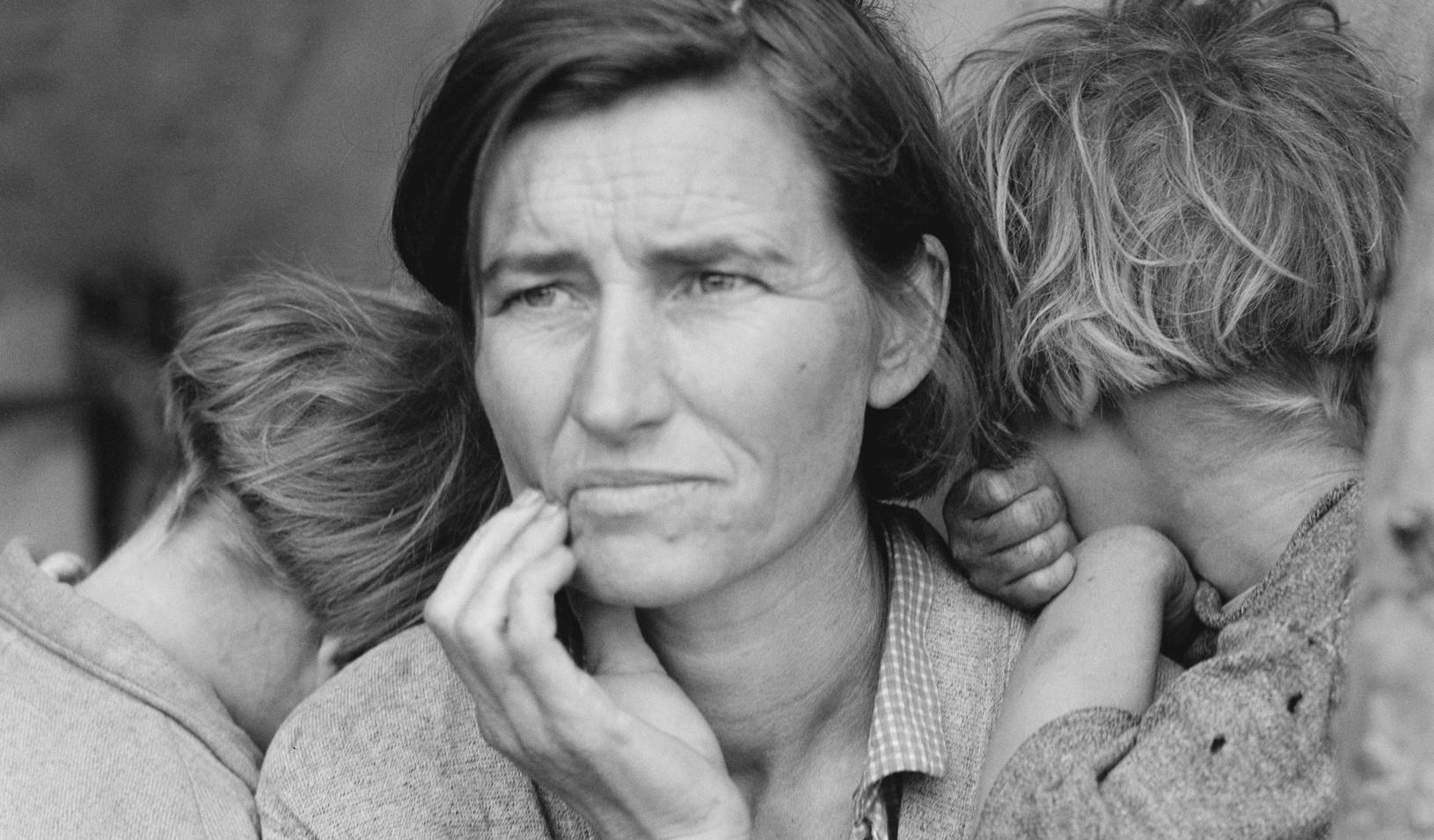 """Florence Thompson with three of her children in a photograph known as """"Migrant Mother"""" taken in Nipomo, California in March 1936. Credit: Dorothea Lange"""