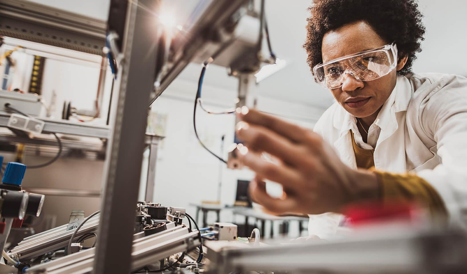 A female engineer working in a technology lab