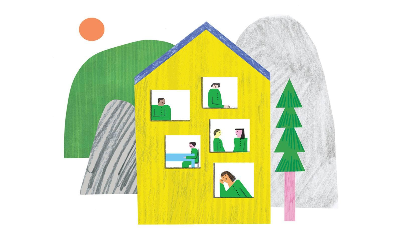 Illustration of a house surrounded by trees and large boulders. Within the house are people in various rooms. Credit: Irene Servillo