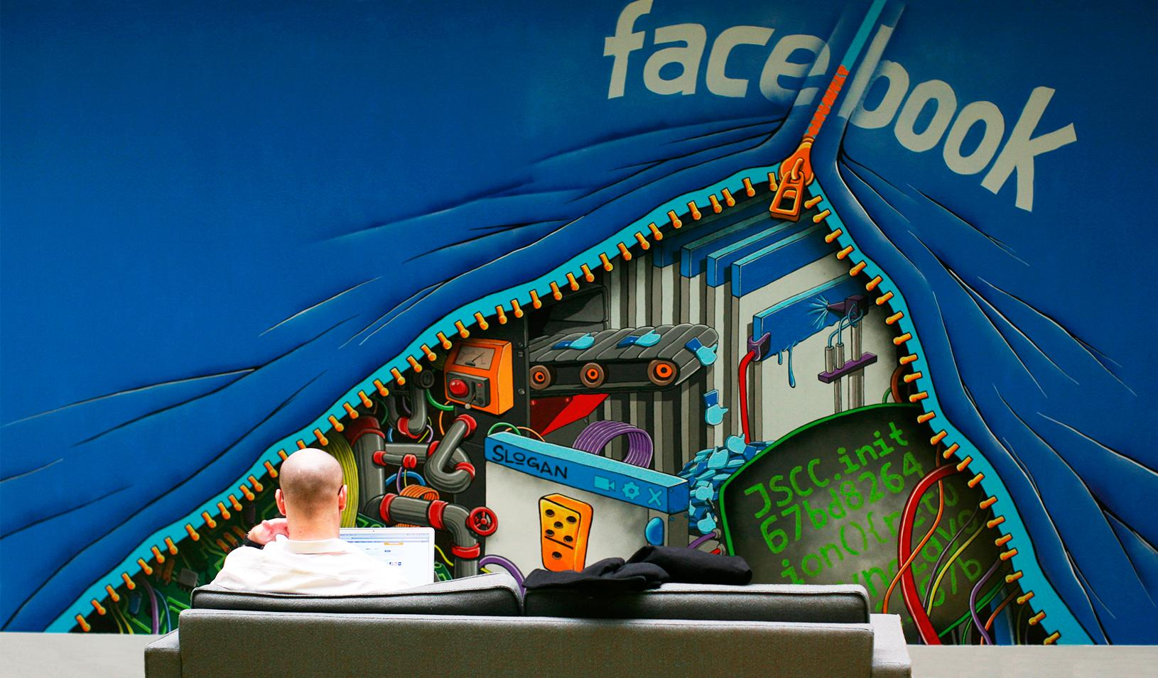 An employee working at Facebook headquarters