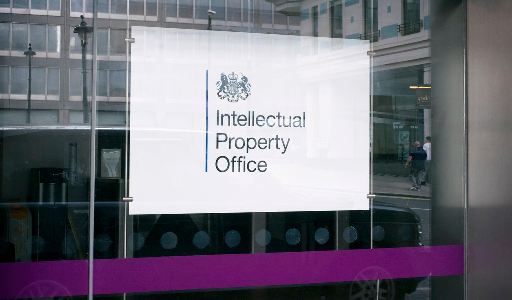 A sign marking the premises of the Intellectual Property Office
