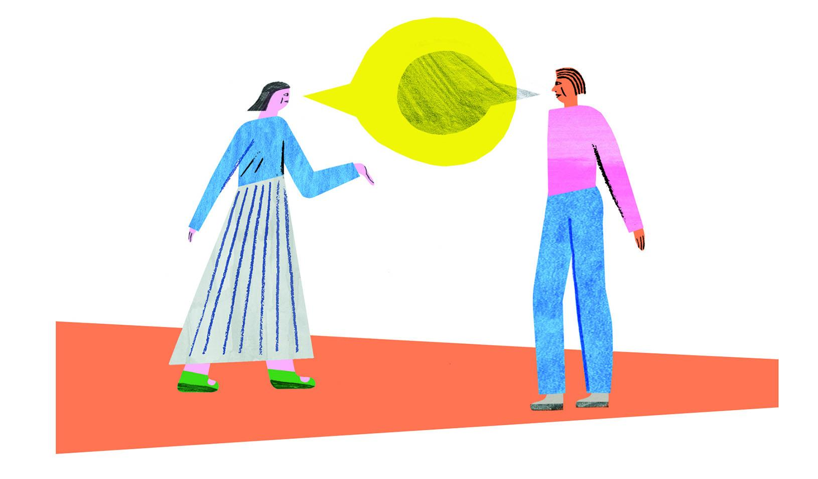 Illustration of two people facing each other and talking, with a colorful speech bubble between them. Credit: Irene Servillo