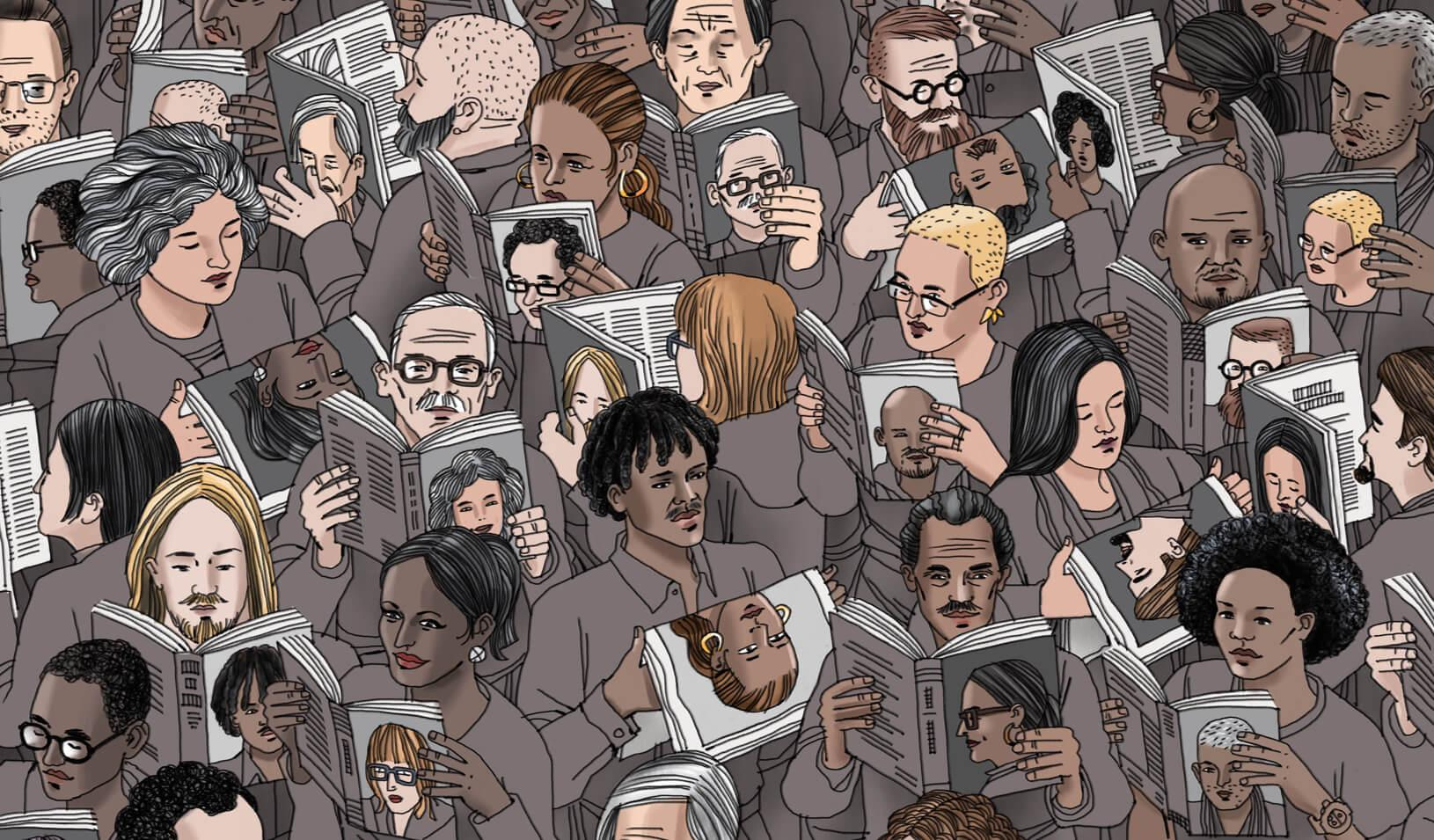 An illustration of a crowd of multiracial people reading magazines with covers showing others in the crowd.   Illustration by Jorge Colombo