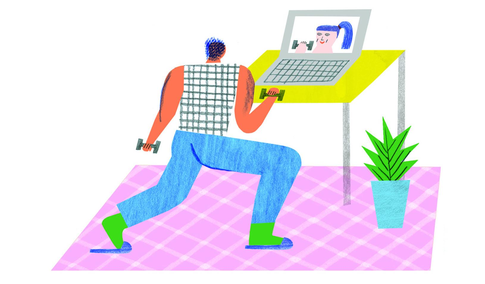 Illustration of a person doing workout with weights guided by a personal trainer on their laptop. Credit: Irene Servillo