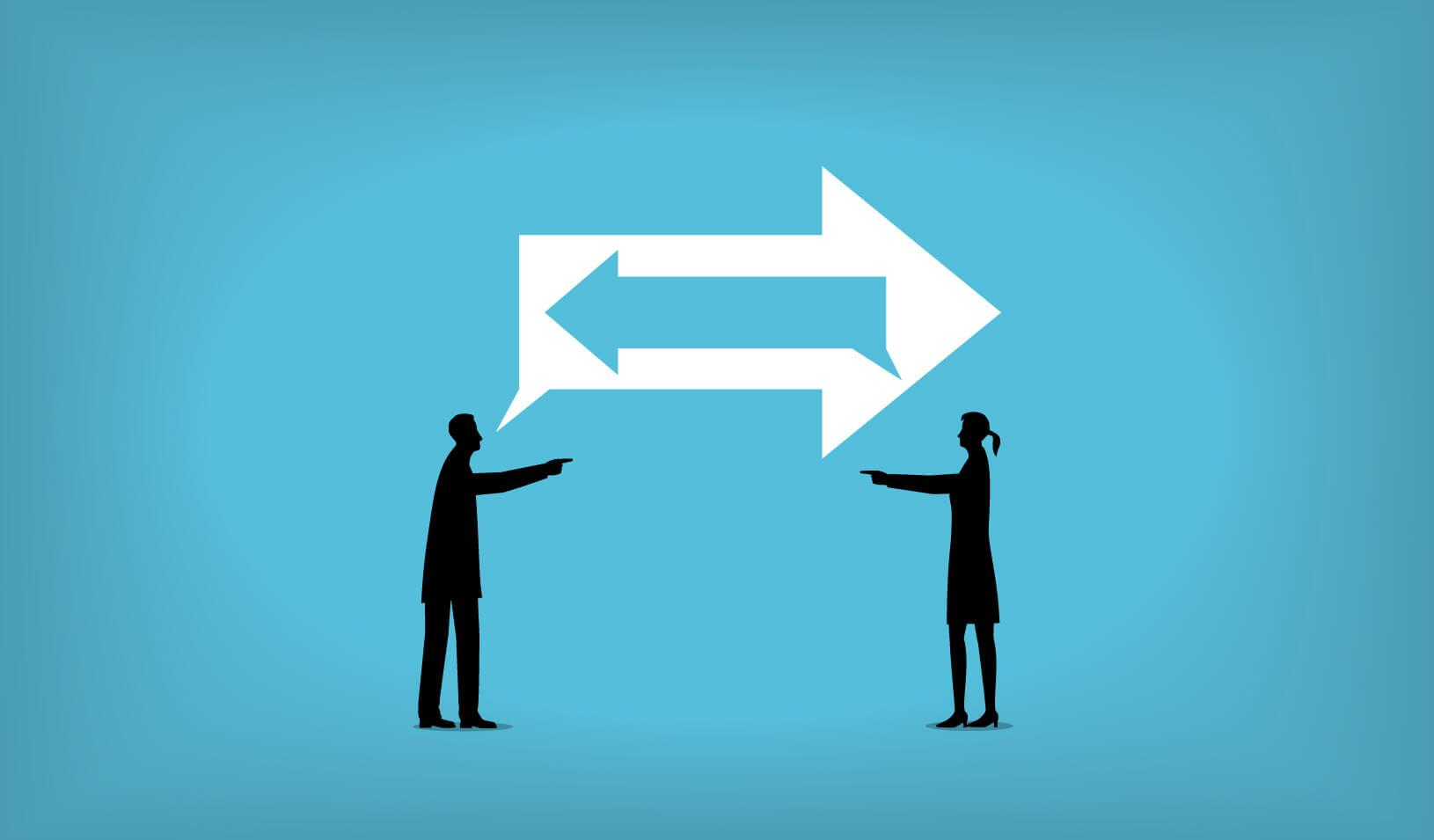 illustration of two people with opposing views