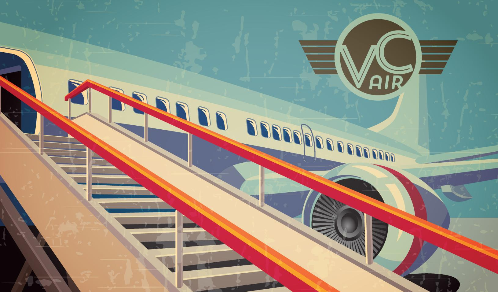 illustration of airplane with exit stairs