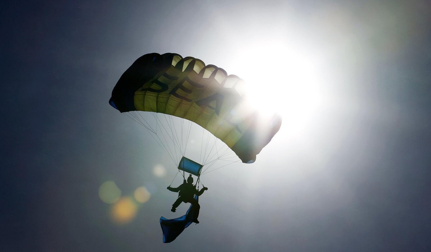 parachuting man