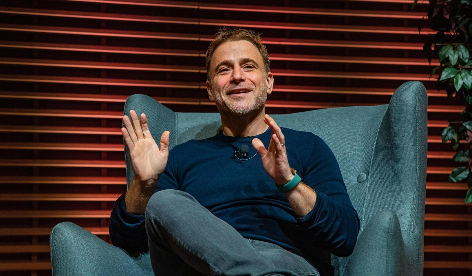 Stewart Butterfield at the View From The Top speaker series. Credit: Stacy Geiken