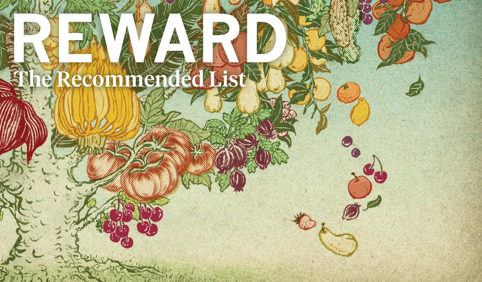 """Picture of flowers with """"Reward - the recommended list"""" 