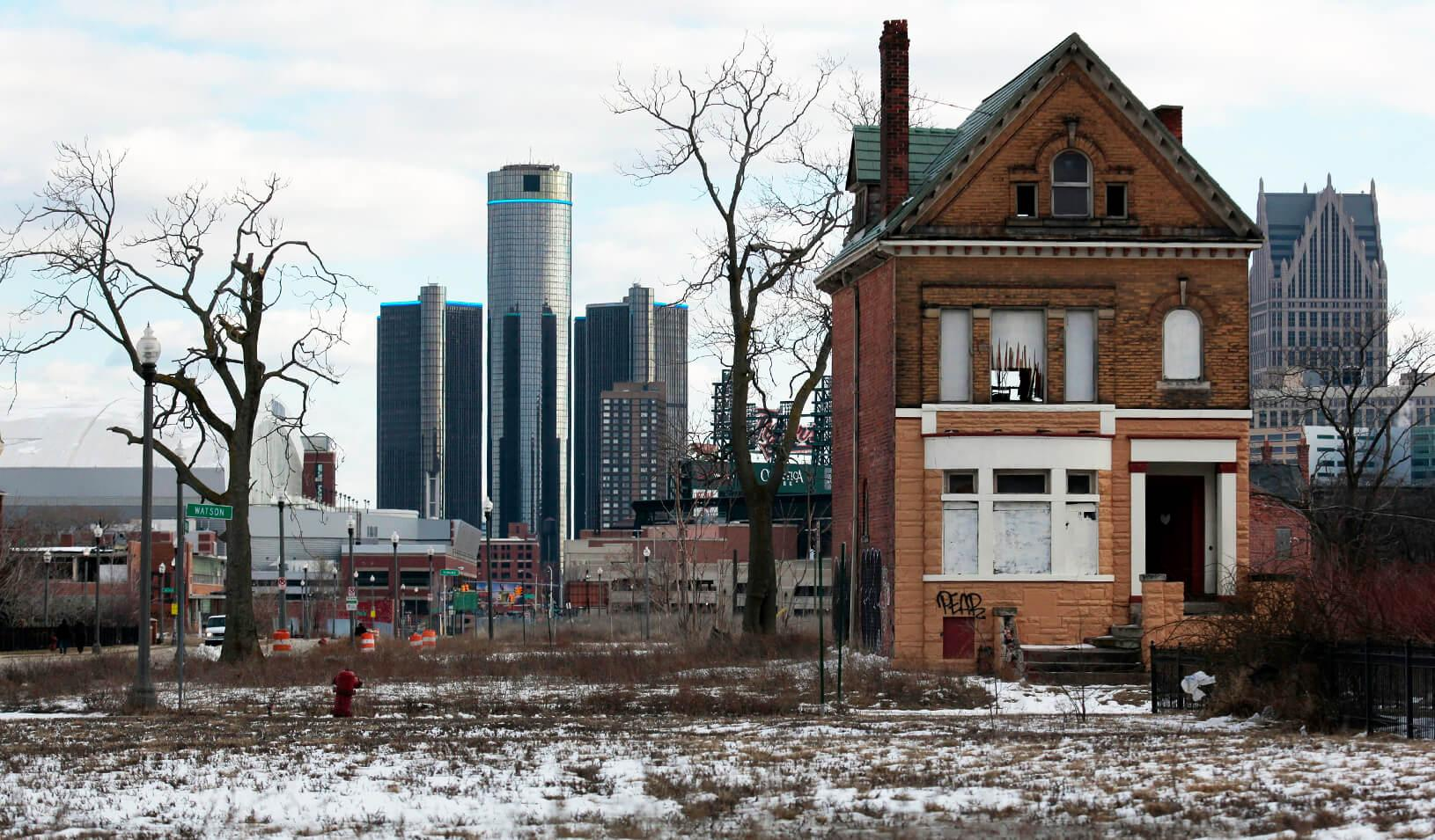 A vacant, boarded up house is seen in a once thriving neighborhood of Detroit, Michigan | Reuters/Rebecca Cook