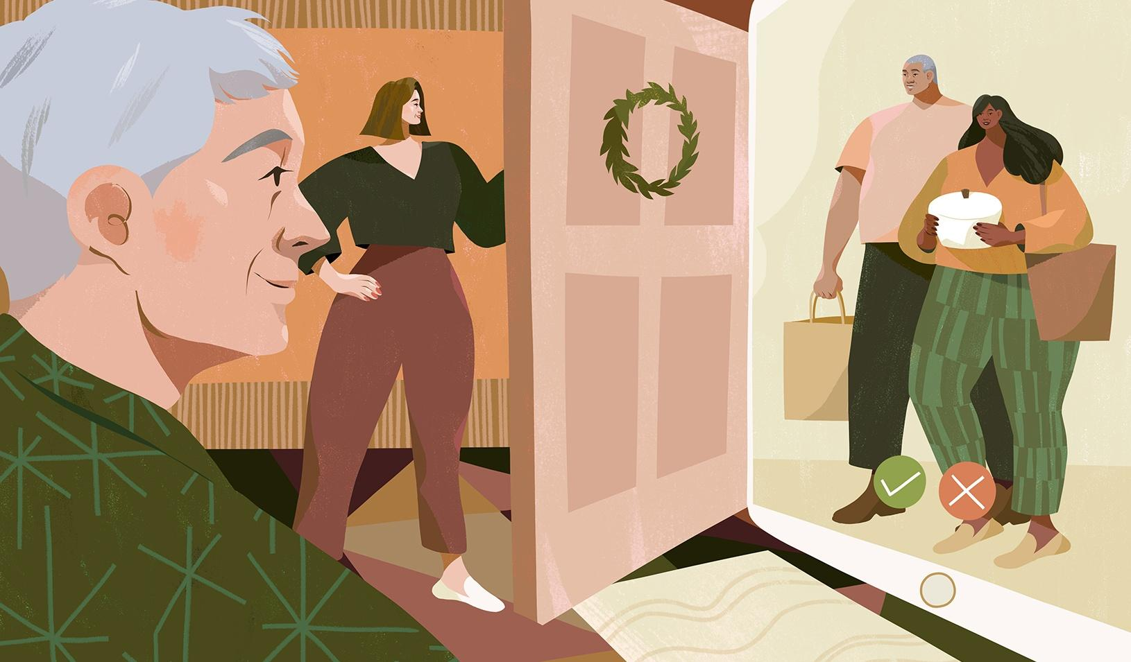 An illustration showing a couple opening the door to their home to see another couple on an iPad screen. Credit: Illustration by Kimberly Salt