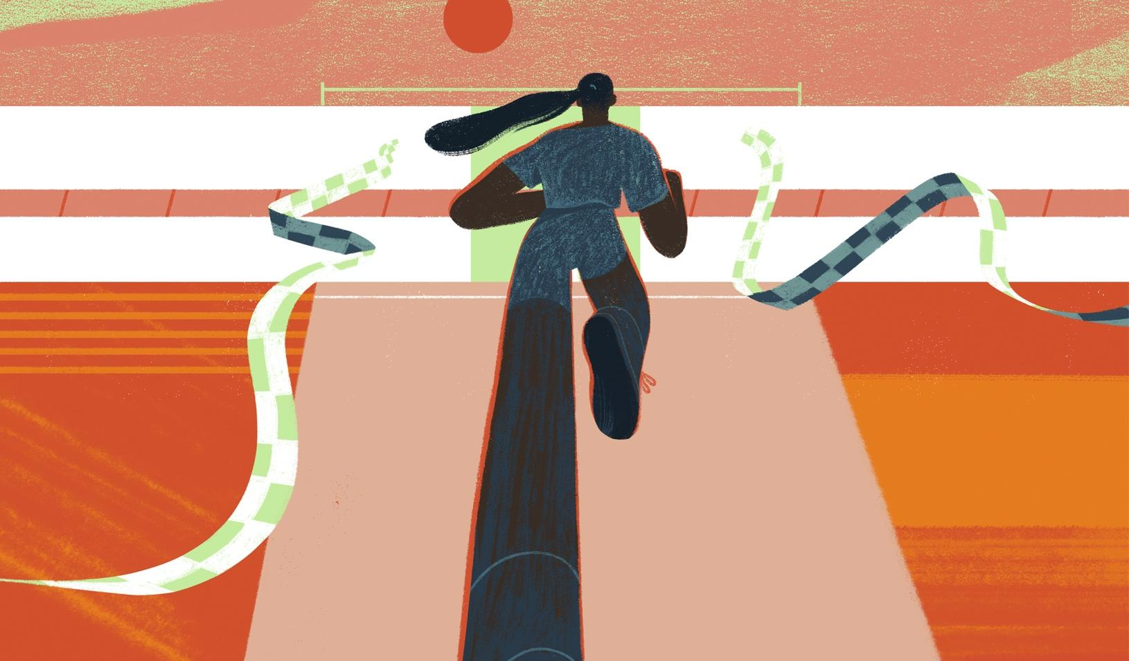 """An illustration of a woman running through a series of """"finish lines."""" Credit: Sara Wong"""