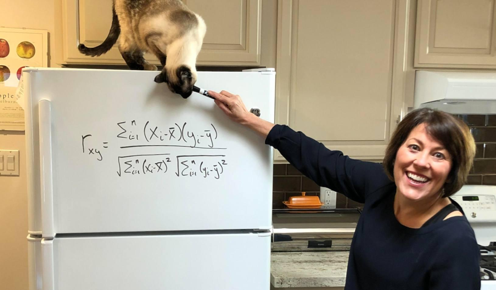 Senior Associate Dean, Sarah Soule, using her refrigerator as a white board in the early days of quarantine. Credit: Ivan Geraghty