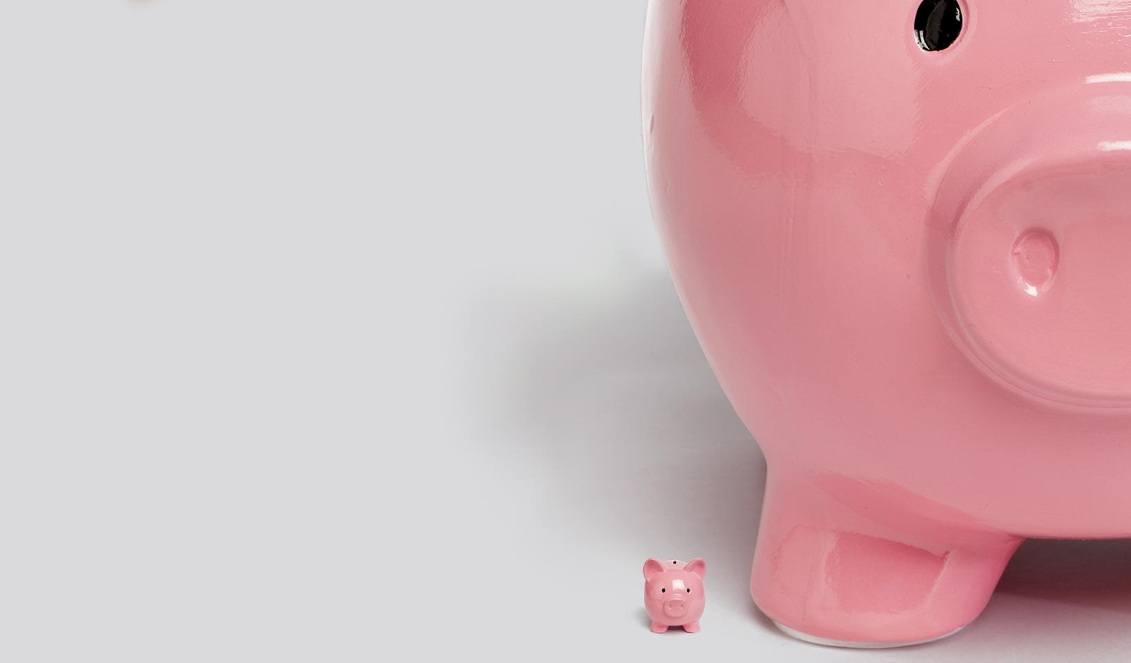 Illustration of a tiny pink piggy bank being dwarfed by a very large pink piggy bank. Credit: Alvaro Dominguez