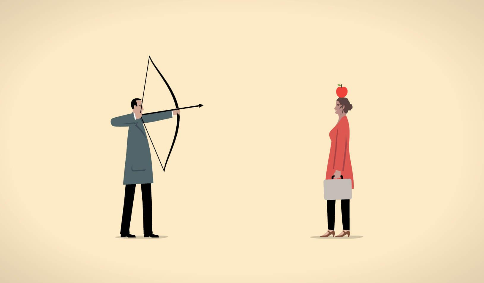 illustration of a man pointing a bow and arrow at an apple on a woman's head