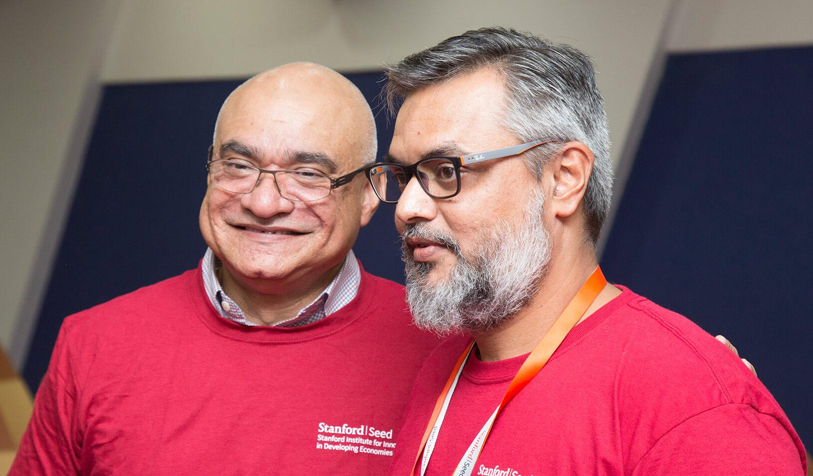 Professor Baba Shiv with Seed Transformation Program participant at the 2017 launch of Stanford Seed in India