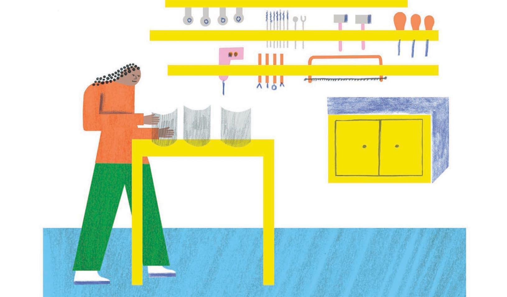 Illustration of a person at a workbench creating face shields. Credit: Irene Servillo Placement: top key full