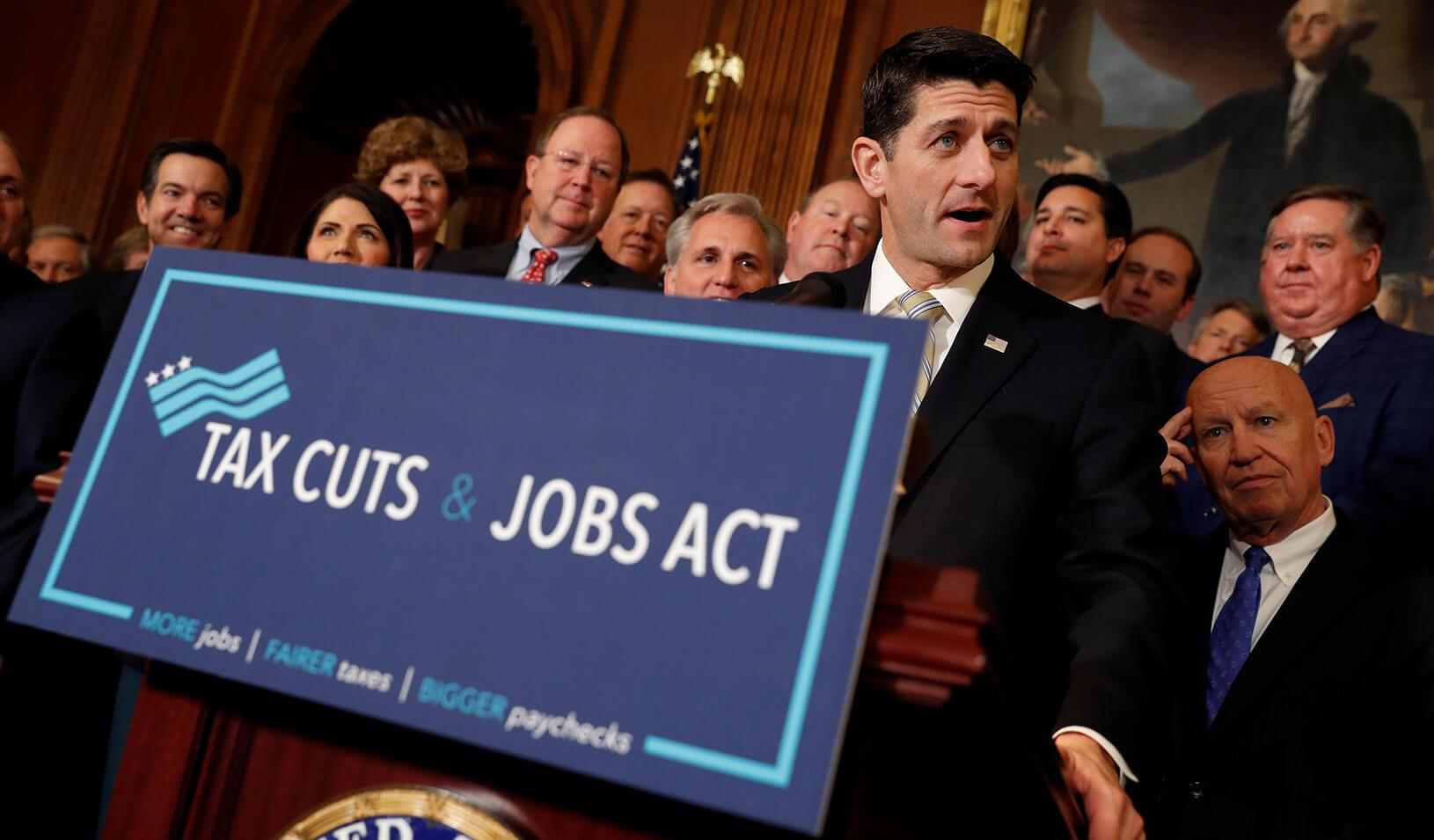 """Speaker of the House Paul Ryan speaks at a news conference announcing the passage of the """"Tax Cuts and Jobs Act"""" at the U.S. Capitol in Washington, D.C. on November 16, 2017. Credit: Reuters/Aaron P. Bernstein"""