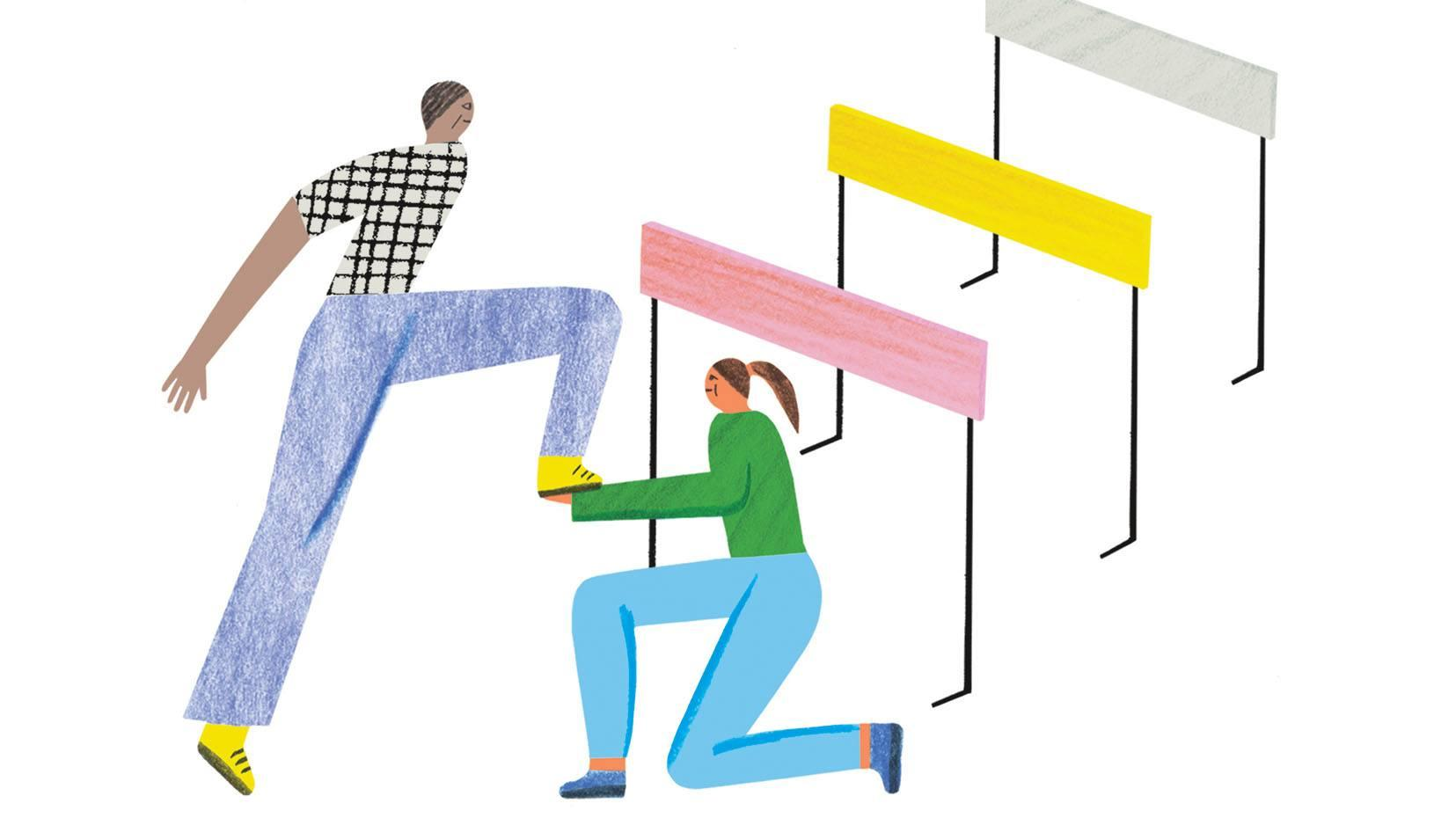 Illustration of two track runners, where one of the runners is helping the other runner leap over a hurdle. Credit: Irene Servillo