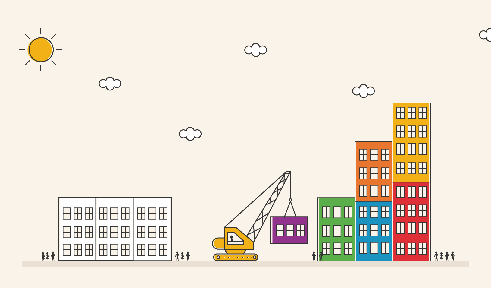 Illustration of a small building being placed next to taller and taller buildings.