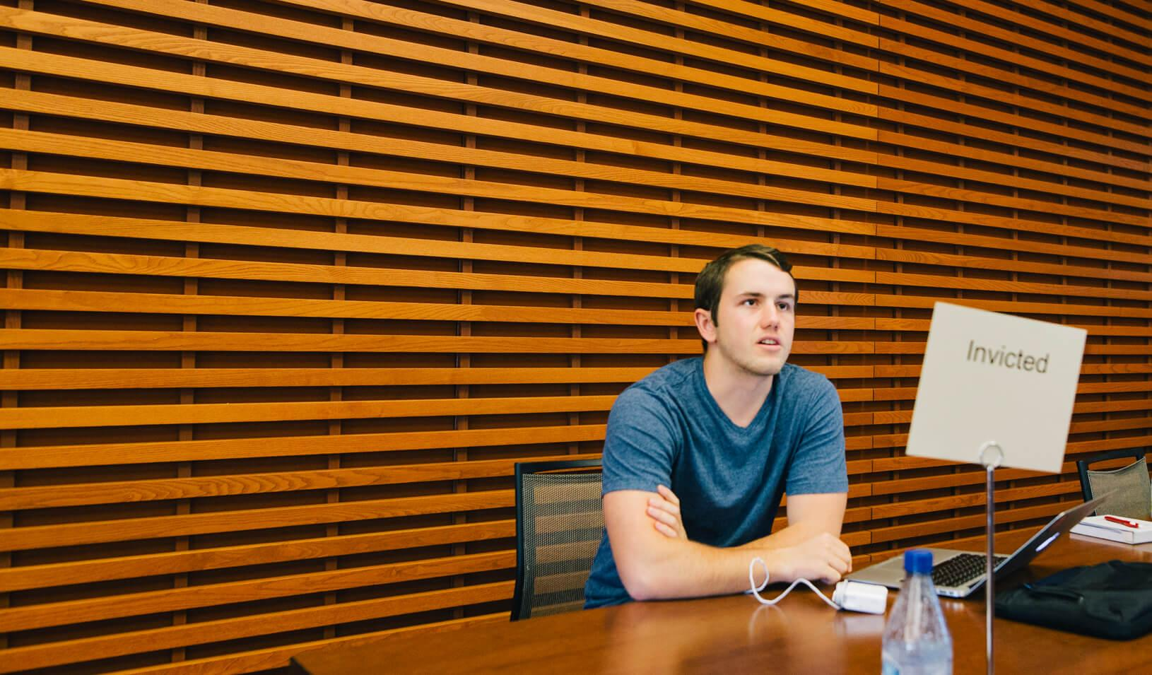 Sean Bonz, BS '20, and his team pitched their product — a smartphone computer vision application to detect alcohol and drug impairment.| Elena Zhukova