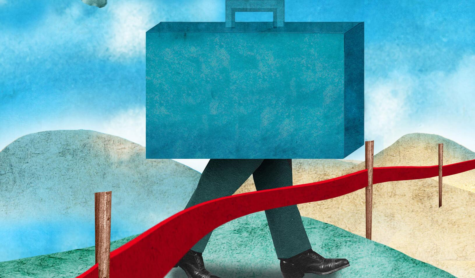 Illustration showing a man with a briefcase as a body running into red tape. Credit: Michael Morgenstern